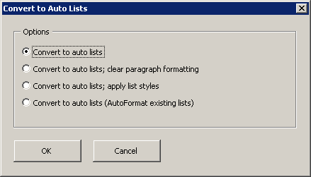 Convert to Auto Lists